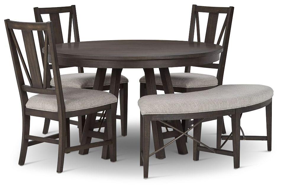 Heron Cove DARK TONE ROUND Table, 3 Chairs & Bench,  (1)
