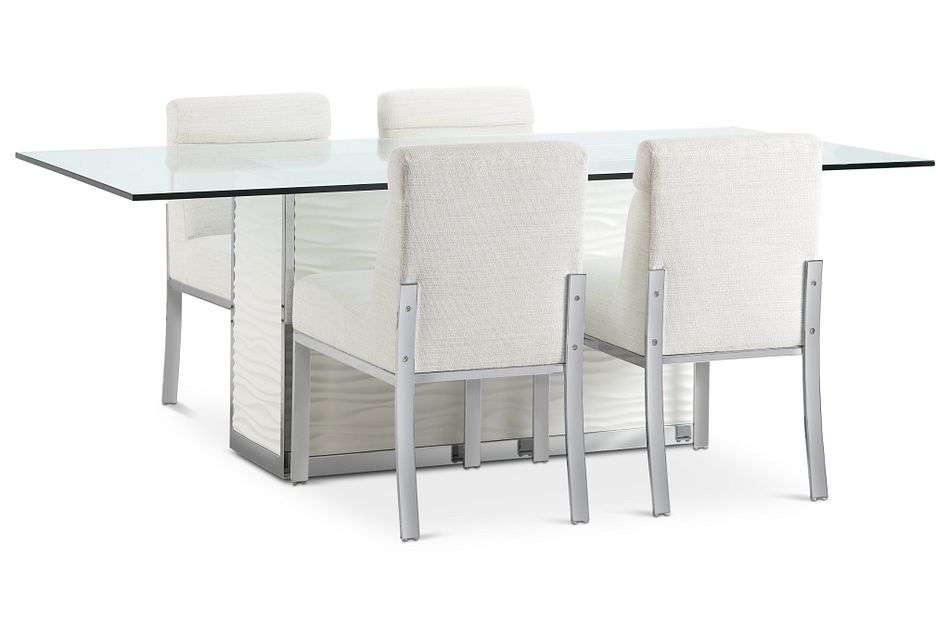 "Ocean Drive 86"" Glass Table & 4 Upholstered Chairs"