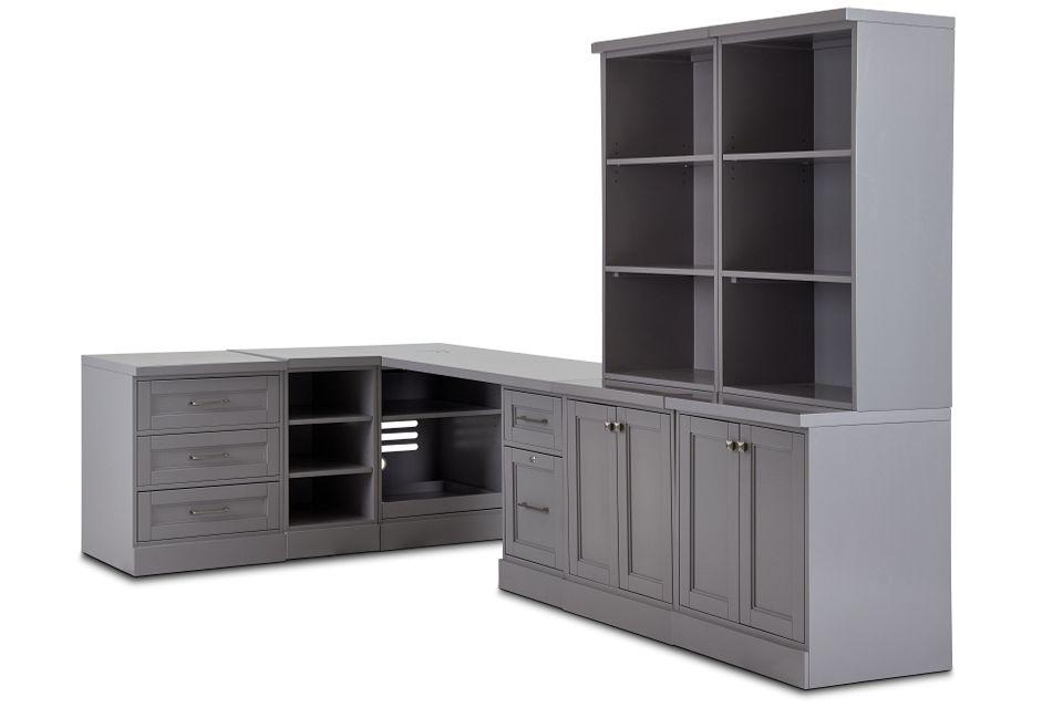 Newport Gray 5 Piece Desk,  (2)