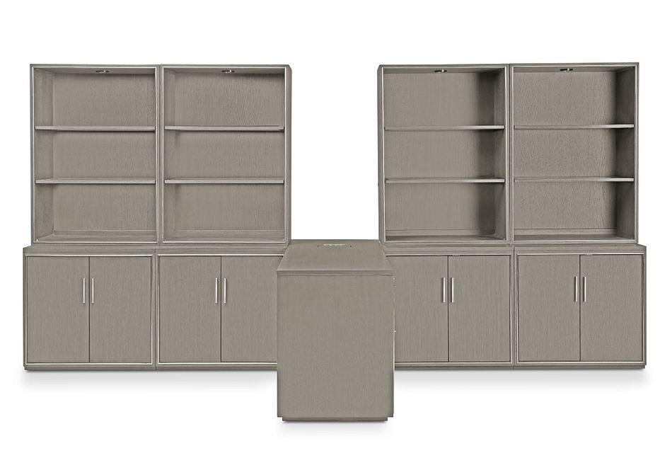 Highline Gray Large Peninsula Door Wall Desk