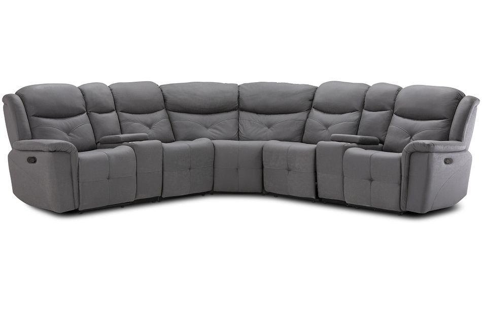 Calvin Light Gray Micro Large Dual Manually Reclining Two-arm Sectional