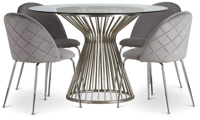 Munich Silver Glass Table & 4 Gray Upholstered Chairs (1)