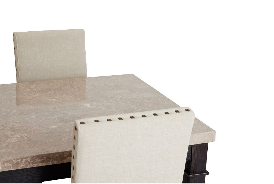 Portia Dark Tone Marble Table & 4 Upholstered Chairs