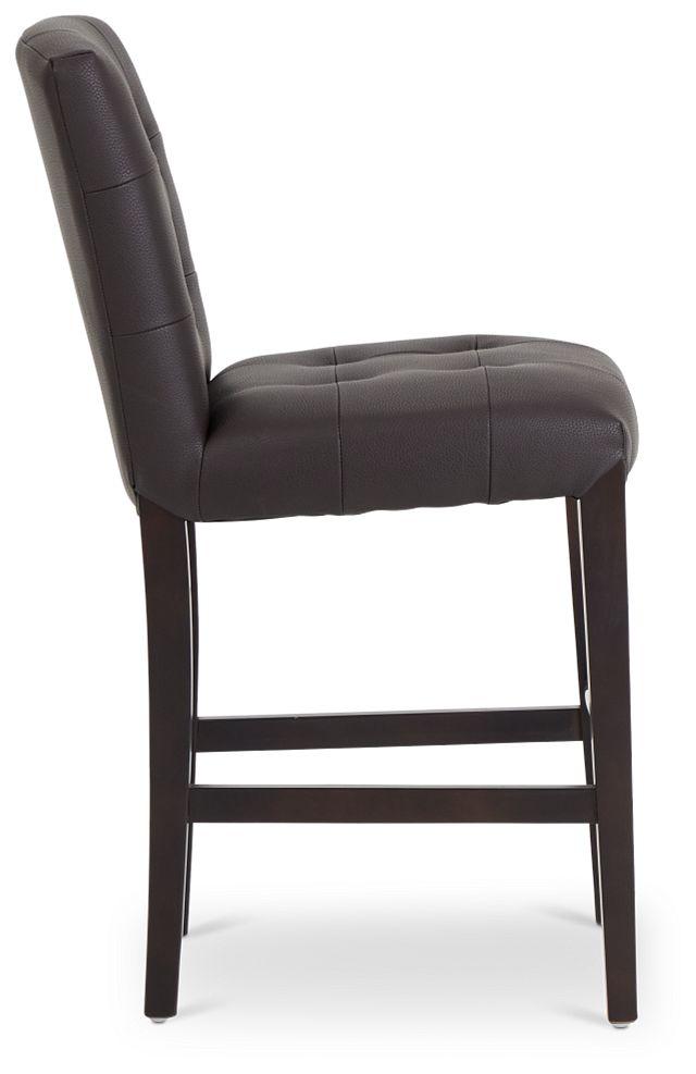 "Shelby Dark Brown Micro 24"" Upholstered Barstool (2)"