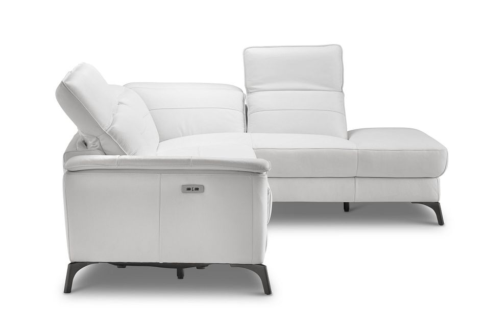 Pearson White Leather Right Bumper Power Reclining Sectional