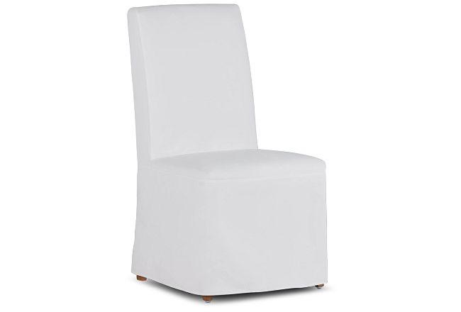 Destination White Long Slipcover Chair With Light Tone Leg
