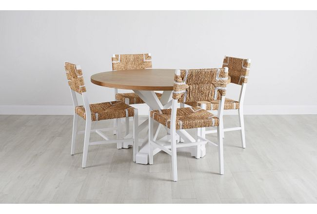 Nantucket Two-tone Light Tone Round Table & 4 Woven Chairs