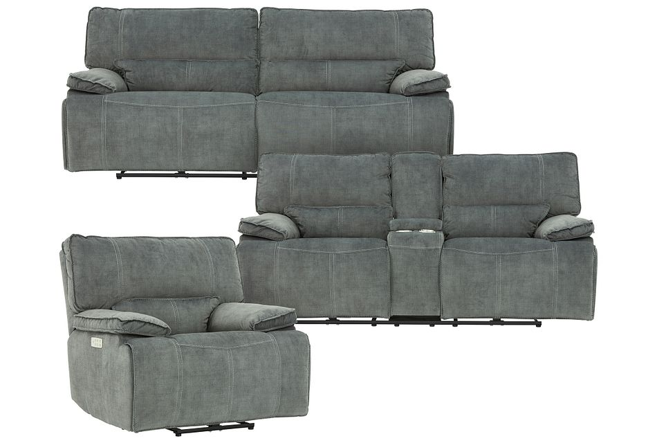 Jesse Dark Gray Micro Power Reclining Living Room