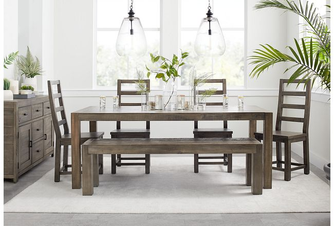 Seattle Gray Rect Table & 4 Wood Chairs