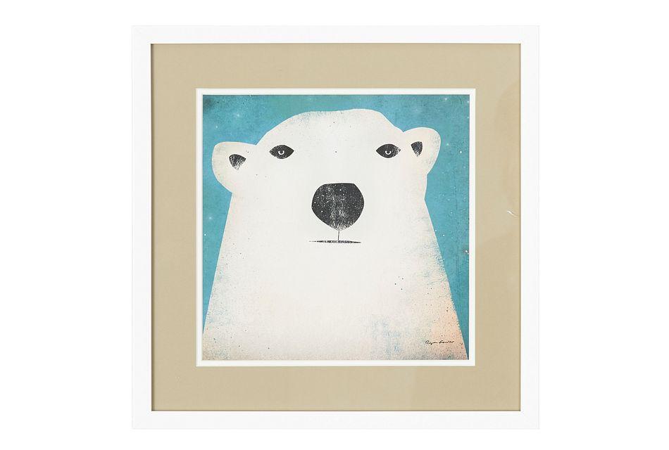 Polar Bear White Framed Wall Art