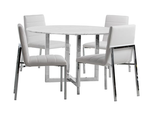 Amalfi White Marble Round Table & 4 Upholstered Chairs (0)
