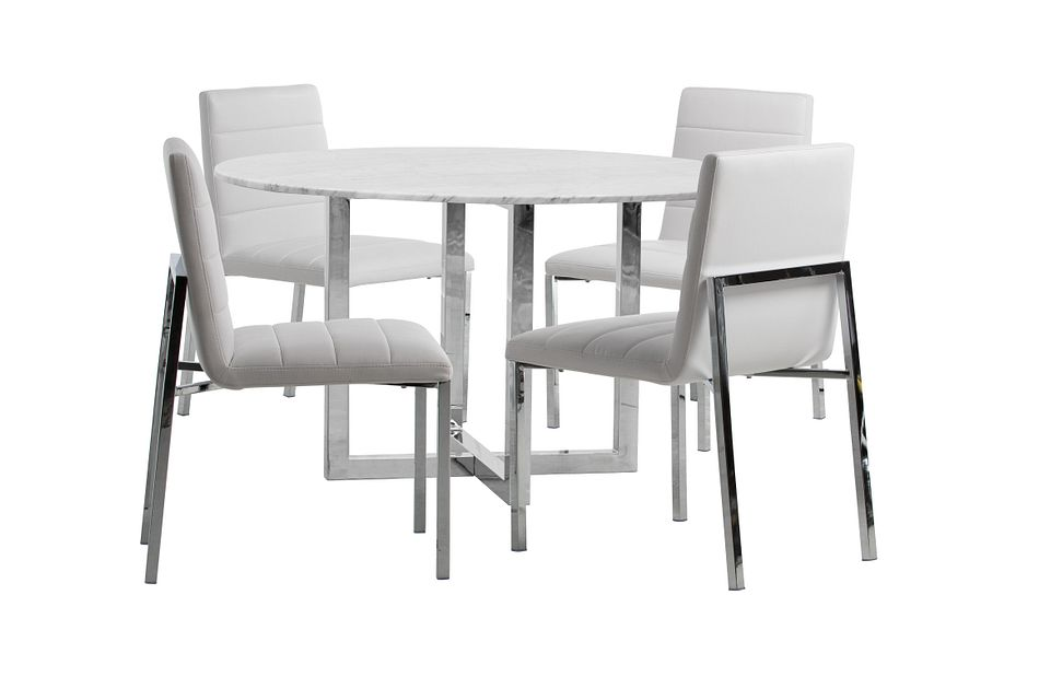 Amalfi White Marble Round Table & 4 Upholstered Chairs