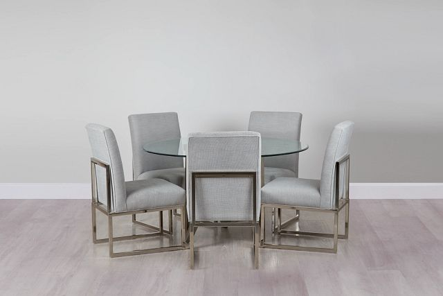 Tribeca Light Tone Glass Round Table & 4 Metal Chairs (0)