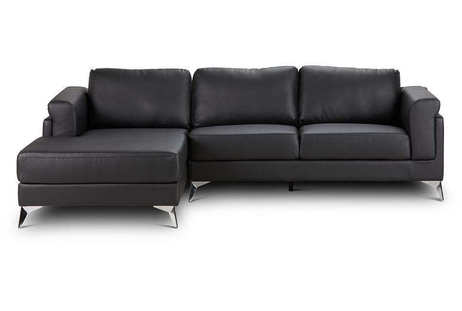 Gianna Black Micro Left Chaise Sectional, %%bed_Size%% (3)