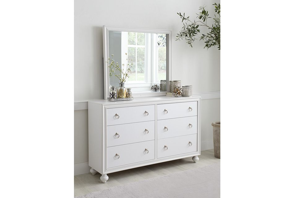 Isabella White Youth Dresser & Mirror