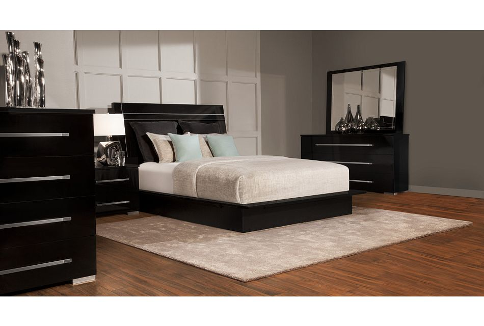 Dimora Black Wood Platform Bedroom, Black Wood Bedroom Furniture