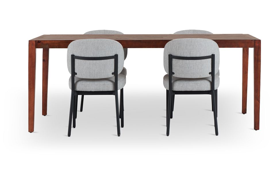 Chicago Dark Tone Rect Table & 4 Light Gray Upolstered Chairs,  (3)