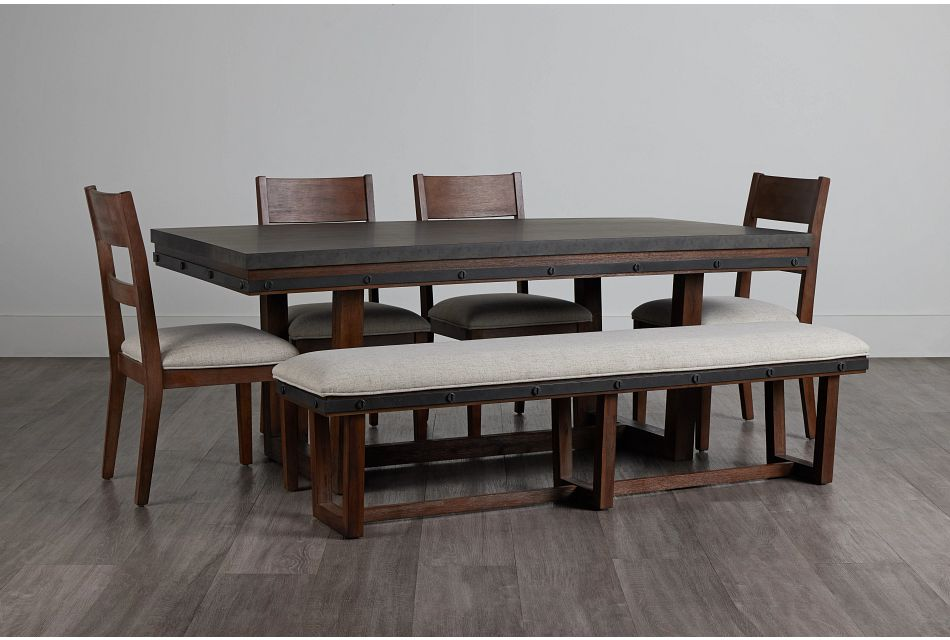 Forge Dark Tone Rect Table, 4 Chairs & Bench,  (0)