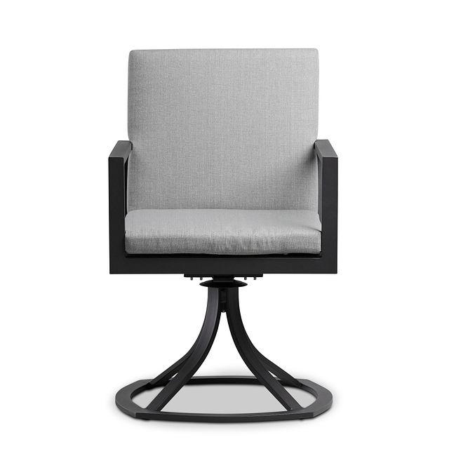 Linear Dark Gray Swivel Arm Chair (2)