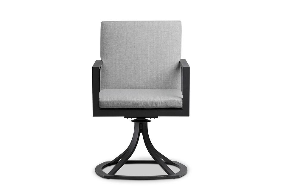 Linear Dark Gray Swivel Arm Chair