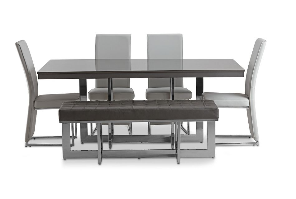 Cortina Gray Table, 4 Chairs & Bench