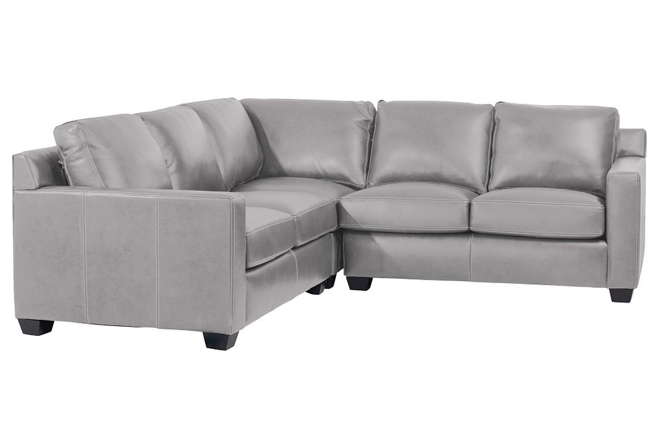 Carson Gray Leather Small Two-arm Sectional