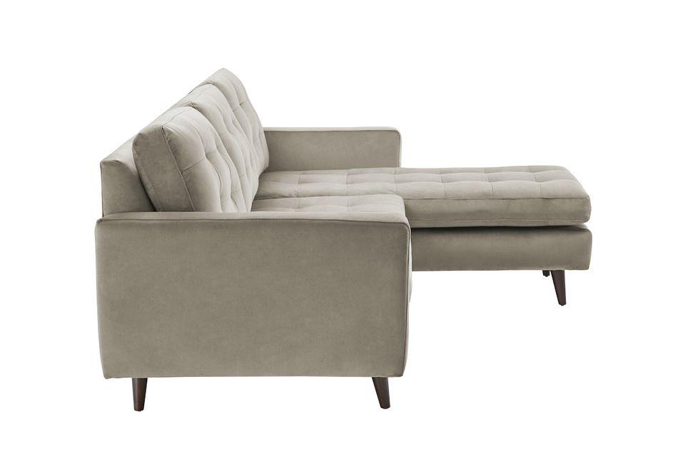 Mila Beige Velvet Right Chaise Sectional