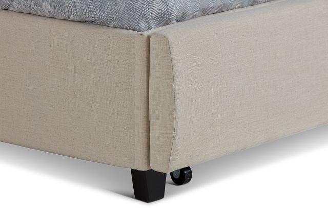 Rylee Beige Uph Platform Storage Bed