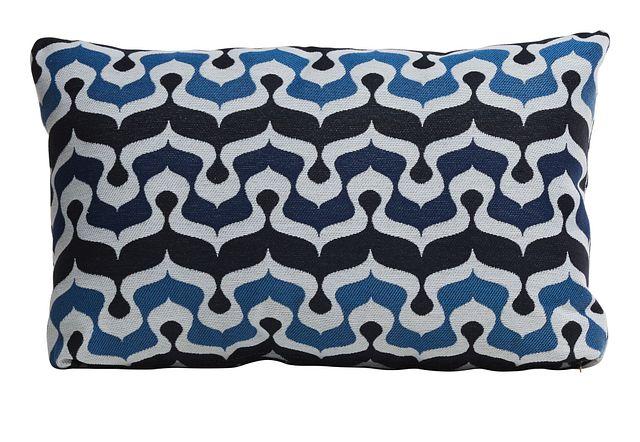 Croquet Dark Blue Lumbar Indoor/outdoor Accent Pillow