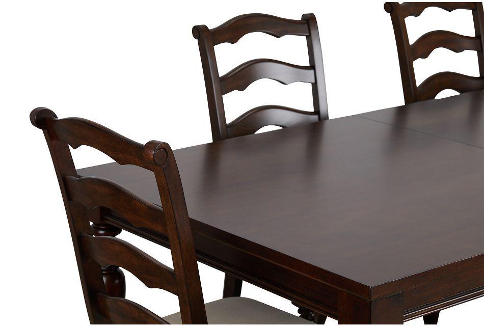 Savannah Dark Tone Rect Table, 4 Chairs & Bench