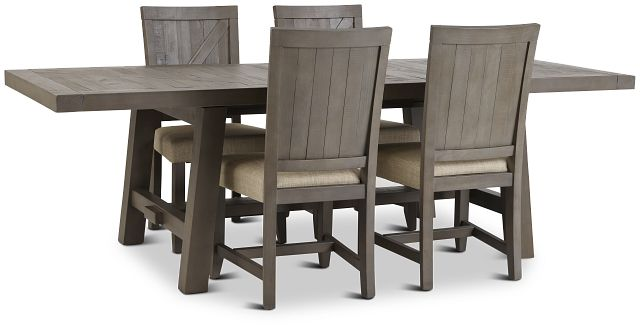 Taryn Gray Rect Table & 4 Wood Chairs (3)
