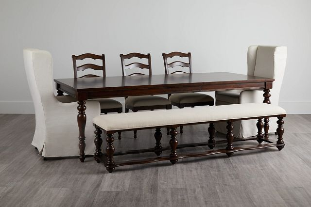 Savannah Dark Tone Rectangular Table And Mixed Chairs (2)