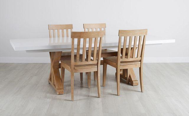 Nantucket Two-tone White Trestle Table & 4 Light Tone Chairs
