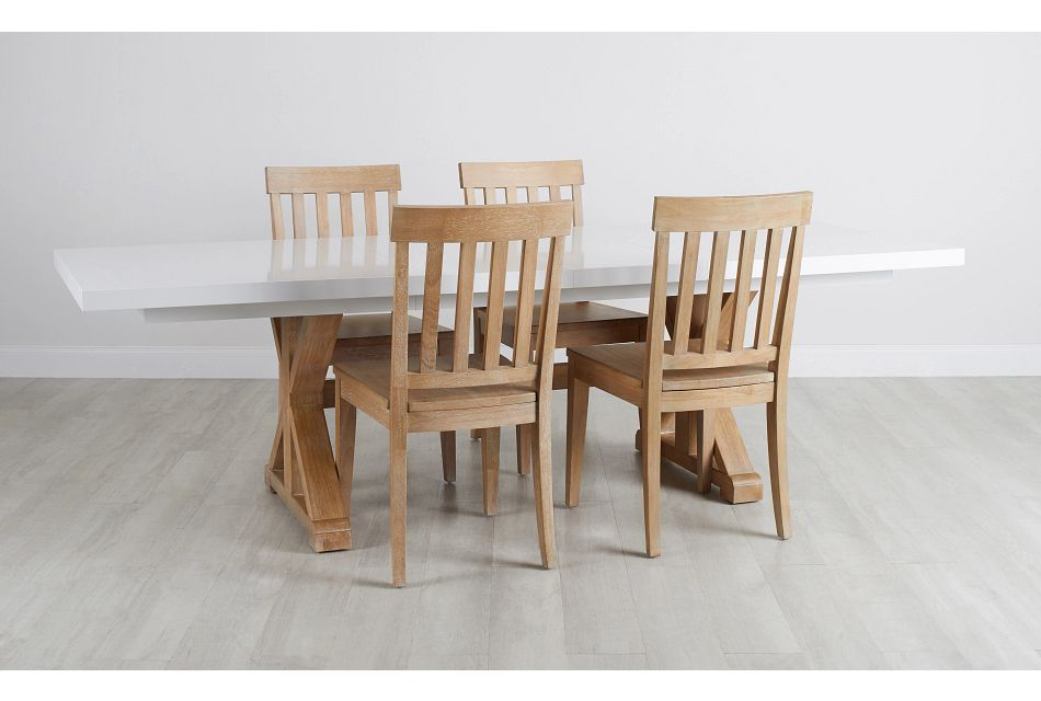 Nantucket Two-Tone White Trestle Table & 4 Light Tone Chairs,  (0)
