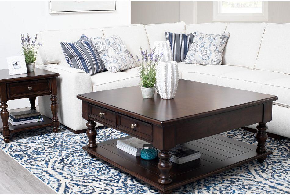 Savannah Dark Tone Storage Square Coffee Table