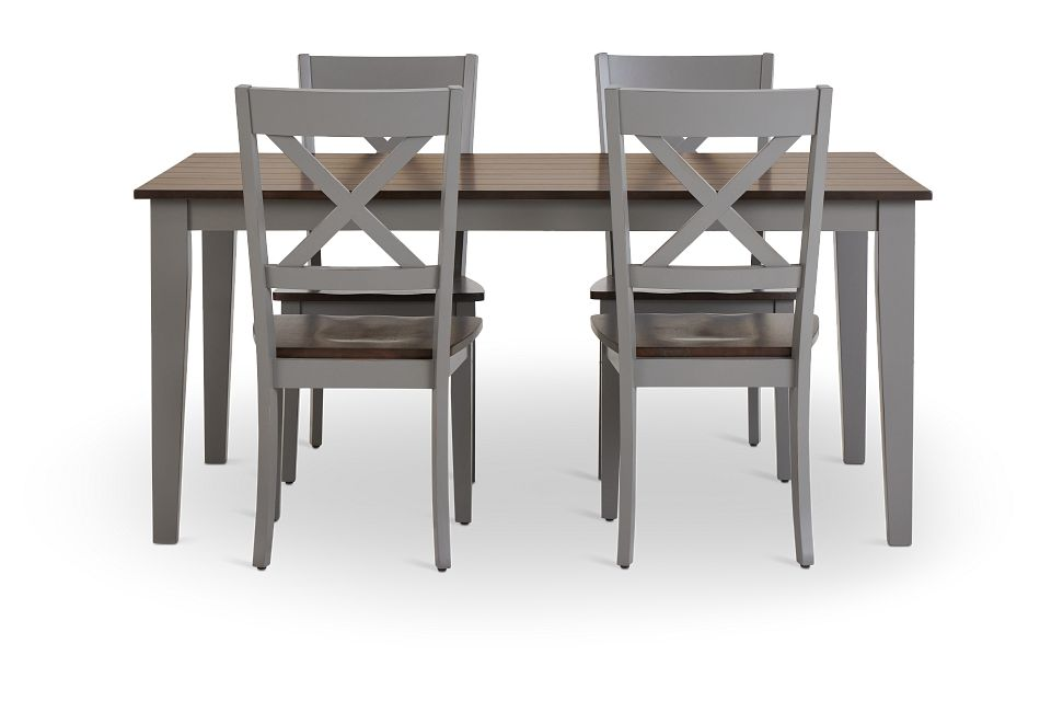 Sumter Gray Rect Table & 4 Wood Chairs,  (3)