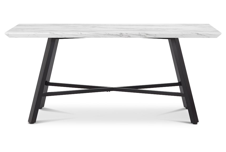 "Capri White 70"" Rectangular Table W/black Legs"
