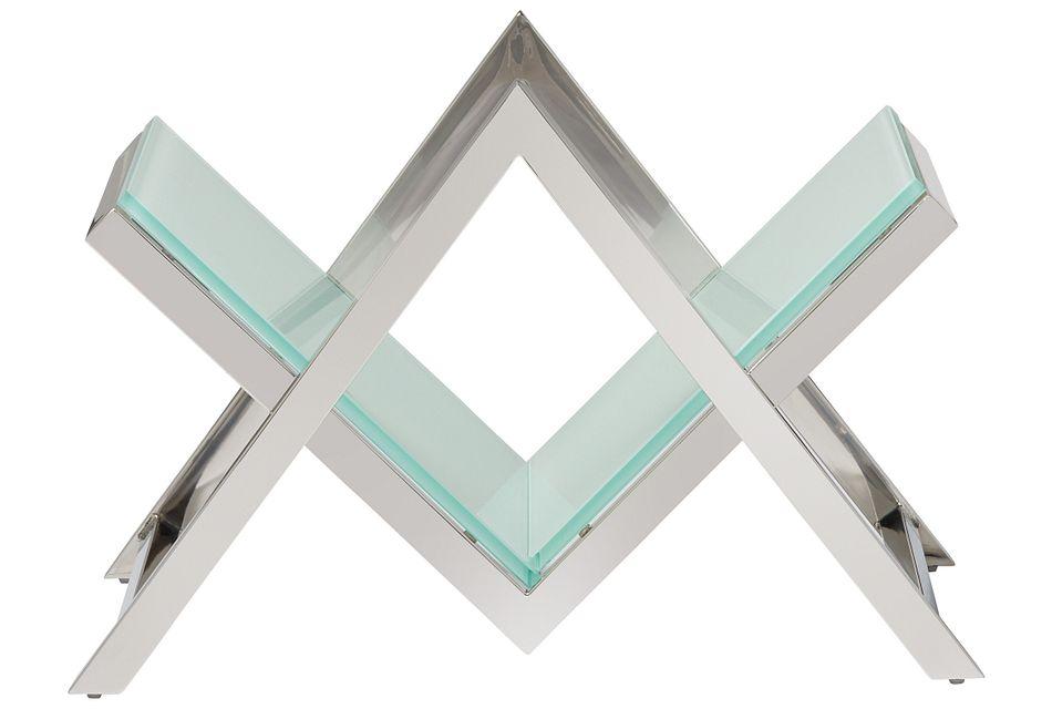Faye White Glass Magazine Rack