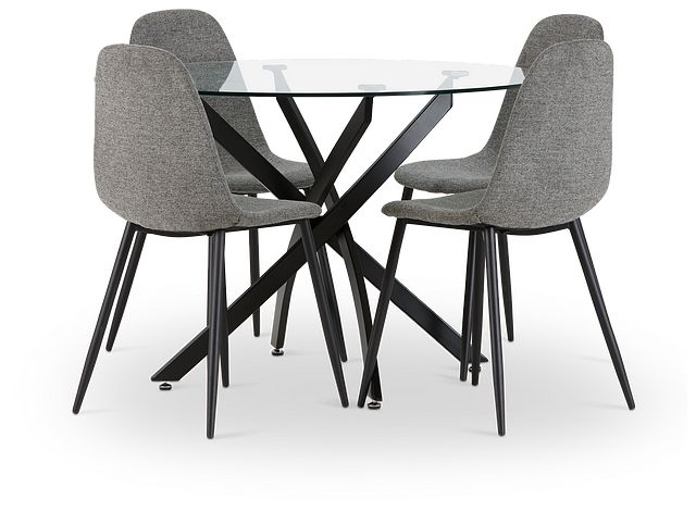 Havana Black Dk Gray Round Table & 4 Upholstered Chairs (1)