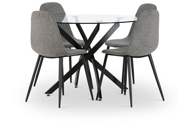 Havana Black Dk Gray Round Table & 4 Upholstered Chairs