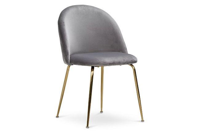 Capri Gray Upholstered Side Chair W/ Gold Legs