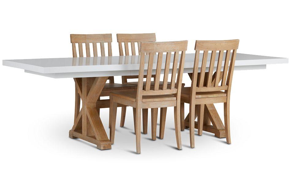Nantucket Two-Tone White Trestle Table & 4 Light Tone Chairs,  (1)