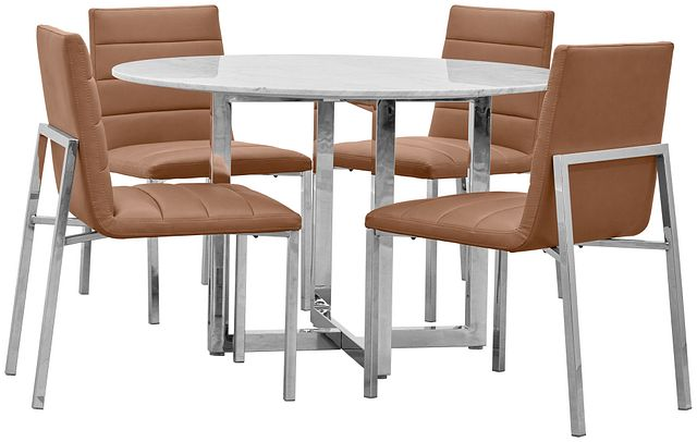 Amalfi Brown Marble Round Table & 4 Upholstered Chairs (0)