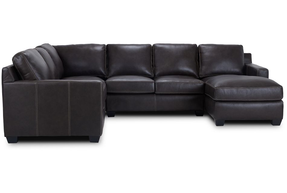 Carson Dark Brown Leather Medium Right Chaise Sectional,  (3)