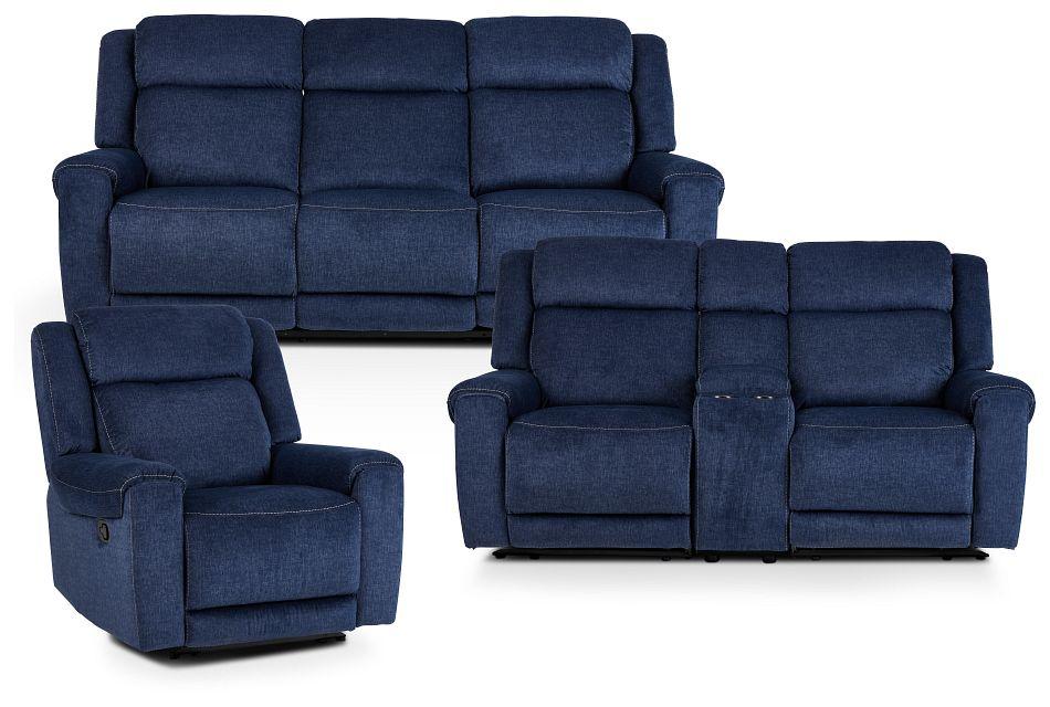 Beckett Dark Blue Micro Manually Reclining Living Room