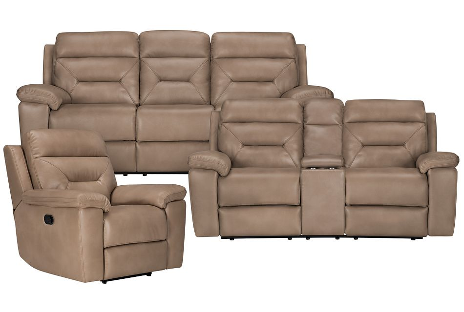 Phoenix Dark Beige Micro Manually Reclining Living Room