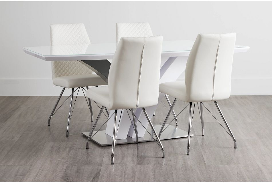 Lima White Table & 4 Upholstered Chairs,  (0)