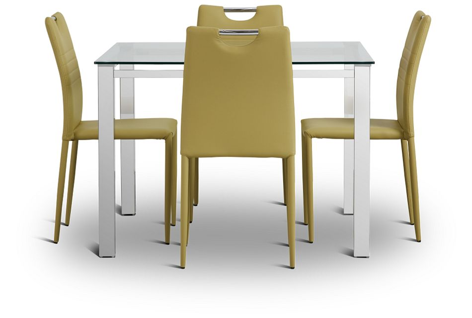 Skyline Light Green Square Table & 4 Upholstered Chairs,  (3)