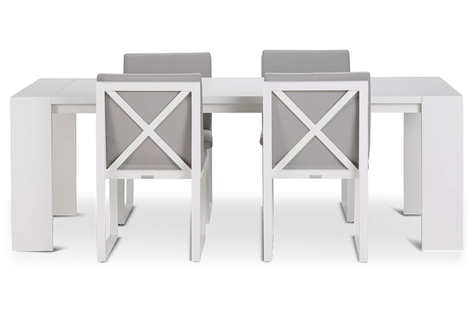 """Linear White Gray 87"""" Aluminum Table & 4 Cushioned Side Chairs"""