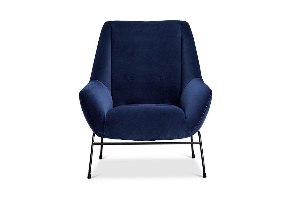 Xena Dark Blue Velvet Accent Chair